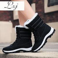 Wholesale big boots womens resale online - Waterproof Snow Boots Womens Shoes With Fur Winter Warm Flats Ankle Botas Anti slip Female Sneakers Zapatos Mujer Big Size