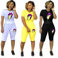 pantolon yoga kıyafeti toptan satış-Kadın Dudaklar Baskılı Eşofman Yaz Spor Takım Elbise T-Shirt + Şort Pantolon Set Bayanlar 2 Parça Kıyafetler Spor Koşu giysi LJJA2284