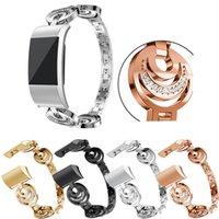 ingrosso orologio bracciale bling-Bling Diamond Star moon Design Band per Fitbit carica 2 cinturino in acciaio inossidabile di ricambio per cinturino Fitbit Smart