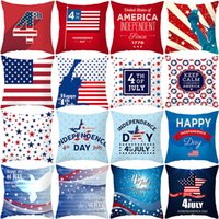 Wholesale pillow usa resale online - American Independence Day Cushion Covers USA Independence Day Peach Skin Pillow Case Home Office Sofa Decoration
