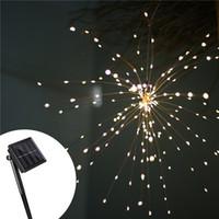 fuegos artificiales de cobre al por mayor-200 Leds DIY Colgando Starburst String Light Solar Powered fuegos artificiales Cobre Fairy string Lights Guirnaldas de Navidad luces centelleantes
