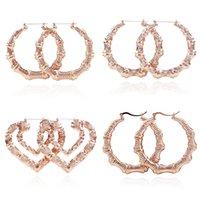 ingrosso vari gioielli-Monili del regalo dei biglietti di S. Valentino vario figura Grandi orecchini d'argento del bambù del cerchio placcati oro rosa