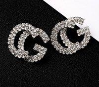ingrosso lettera g-Fashion New G Lettera Designer di lusso Orecchini S925 Argento ago G Stud orecchino gioielli con perla di cristallo regalo