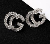 hediye yeni inci toptan satış-Moda Yeni G Mektup Lüks Tasarımcı Küpe S925 Gümüş Iğne G Saplama Küpe Takı Inci Kristal Hediye ile