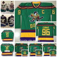jersey de anaheim poderosos patos al por mayor-Anaheim Ducks Movie Green 1993 Jerseys antiguos The Mighty Hockey 96 Charlie Conway 33 Greg Goldberg 66 Gordon Bombay 99 Adam Banks Reed