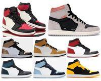 tênis preto tops altos venda por atacado-Alta OG 1 Cinza Neutro Bring Toe Patente UNC Sapatos de Basquete Homens 1 s Ouro Toe Top 3 Sapatilhas Chameleon Toe Preto Com Caixa