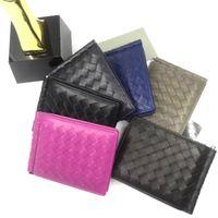 Wholesale bi fashion resale online - Fashion Famous Designer Soft Lambskin Genuine Leather Thin Bi fold Wallet With Money Clip Essentia Card Case Western Men Bagl