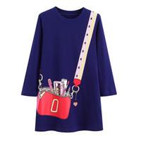 robe à imprimé sac achat en gros de-Designer Bébé Filles Robe 2019 À Manches Longues Princesse Robe Fille Vêtements Enfants Robes Pour Les Filles Costumes Sac Imprimer Vêtements Pour Enfants