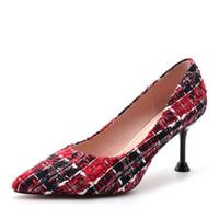 kadınlar için ayakkabılar küçük topuklu ayakkabı toptan satış-Moda Yüksek Topuklu 2019 Yeni küçük koku tarzı dokuma yüksek topuklu sivri sığ ağız stiletto bayan ayakkabıları