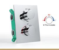 controladores de válvula al por mayor-Baño 3 vías ducha grifo desviador cromo latón multifunción controlador de ducha perillas redondas válvula de agua