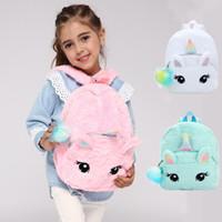 escuela kawaii al por mayor-Mochilas de felpa suave de unicornio de moda Kawaii Cartoon Girls Mochilas escolares Bolso de viaje de bebé lindo al aire libre TTA1715