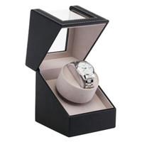 relojes de almohada al por mayor-Caja de reloj PU de cuero Almohada ajustable Anti-estática de cuerda automática Caja de contenedor de almacenamiento de soporte mecánico automático Nuevo