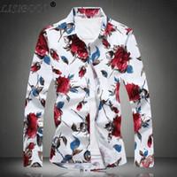 chemises décontractées uniques pour hommes achat en gros de-2019 Été Hommes Casual Chemises Homme À Manches Longues Unique Design Fleur Chemises Hommes Casual Chemise Homme Chemise Slim Fit