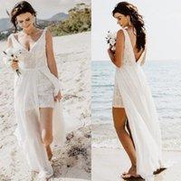 robe de mariée moderne décontractée achat en gros de-2020 robes de mariée plage boho d'été occasionnels dos nu col en V en dentelle en mousseline de soie train élégant moderne robes de mariée taille personnalisée