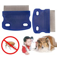 Lice Comb Non Slip Handle Nit Free Pet Dog Cat Louse Flea Remove Brush Stainless Steel Grooming Tools Durable