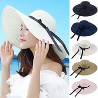 Wholesale flat hats for women online - round Top Raffia Wide Brim Straw Hats Summer Sun Hats for Women With Leisure Beach Hats Lady Flat Gorras MMA1484