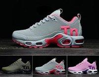 zapato de correr de malla de piel para mujer al por mayor-2019 mujeres hombres Mercurial Tn Plus zapatillas Chaussures Femme Tn diseñador zapatillas Kpu cuero mujer deporte zapatillas de malla 36-40