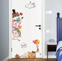 ingrosso materiale decorativo per la stanza-Cartoon Gatti Adesivi murali Materiale PVC Adesivi murali animali fai-da-te per camerette Scuola materna Decorazione porta dell'armadio