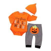 costume citrouille bébé achat en gros de-Détail bébé barboteuse ensembles coton citrouille d'Halloween 3pcs tenues costumes nouveau-nés combinaisons enfants survêtement pyjama costume vêtements pour enfants