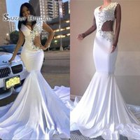 Wholesale simple celebrity wedding dresses for sale - Group buy 2020 White Sexy Mermaid Prom Dresses Plus Size Long Pageant Dress Crystals Celebrity Evening Gown Formal Wedding Party Wear Illusion Sleeve