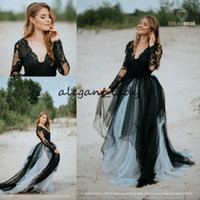 Wholesale plus size informal dresses for sale - Group buy Vintage Black Bohemian Wedding Dresses with Long Sleeve Gothic Lace Backless V neck Beach Garden Bridal Informal Temple Gown