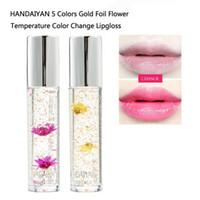 flores de lábios vermelhos venda por atacado-HANDAIYAN Lip Gloss Transparente Natural Vermelho Batom Temperatura Mudança de Cor Long-lasting Silky Hidratante Flor Geléia Batom Maquiagem
