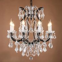 Wholesale hanging vintage chandelier light for sale - Loft Retro Vintage Big Crystal Chandeliers Lustre Modern Hanging Lamp E14 LED V V Lighting For Kitchen Living Room Bedroom