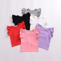 kız ruffle kol gömlek tişörtü toptan satış-Çocuklar Şeker renkler T Shirt çocuk Kız Üstleri fırfır kollu pamuk Tees 2019 yaz Çocuk Giyim 6 renkler C5710