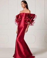 vestido corto de plumas rojas al por mayor-Vestido de noche Sirena Manga corta Bateau Elástico Satinado Rojo Feather Classic Personalizable en cualquier tamaño Moderno 1 Personalizable