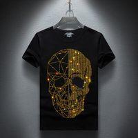 üst modal gömlekler toptan satış-Yaz Üst Mens Kafatasları Rhinestones T Gömlek Modal Pamuk O Yaka Kısa Kollu İnce Tee Gömlek