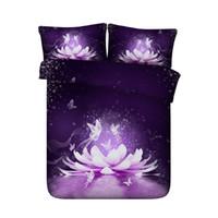 fleurs pourpres bleues achat en gros de-Couvre-lit de couette couvre-lit de fleur de Lotus pourpre ensembles de literie papillon asiatique couvre-lit d'étoile Galaxy Galaxy Pink White White Coverlet 3 pièce