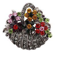 Wholesale enamel flowers for brooch online - Fashion vintage Crystal Rhinestone Colorful Flower Basket Brooch Pin for Women Jewelry
