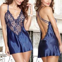 arneses para mujer al por mayor-Atractiva de las mujeres pijamas V del cuello de encaje arnés pijamas linda de la manera del estilo de la ropa interior Backless sin mangas de la ropa informal