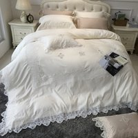 Wholesale princess bedding queen girls resale online - 4pcs Egyptian Cotton Luxury pure white bedding sets with big lace duvet covers girls princess bed linen queen king sheets