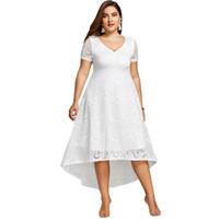 kısa dantel gala elbisesi toptan satış-Gül Gal Yaz Midi Elbise Kadınlar Artı Boyutu Yaz Elbise Kısa Kollu V-cut Yarı Resmi Dantel Parti Elbise Robe Femme Vestidos Y19070901