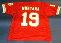 joe montana maillots de football achat en gros de-Pas cher rétro # 19 JOE MONTANA CUSTOM MITCHELL NESS Jersey Hommes Brochage haut de gamme Taille S-5XL Football Maillots NCAA College