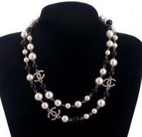 ingrosso colletto perla per gioielli donna-Collana lunga del maglione del collare della collana di Maxi Collana simulata dei fiori della perla Collana dei monili di modo delle donne Bijoux Femme Regali di Natale Trasporto libero