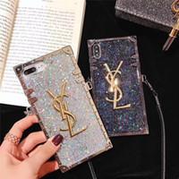 diamant bling telefon fällen großhandel-Ein stück luxus diamant glitter bling designer telefon fällen für iphone x 6s 7 8 plus xr xs max marke rückseitige abdeckung mit langen lanyard für geschenke