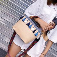 Wholesale unique brown handbags for sale - Group buy 2019 Unique Straw Rattan Handbag Tassel Woven Shoulder Bag Simple Beach Tote Bag Handbag for Women Ladies Summer Use Supplies