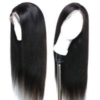 Wholesale real human hair lace wigs resale online - Real Remy Human Hair Wigs For Black Women Free Part Glueless Virgin Peruvian Glueless Silky Straight Full Lace Wig Pre Plucked Baby Hairs