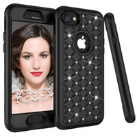 Wholesale hybrid diamond cases online – custom 3 in Hybrid Shockproof Armor Phone Cases for iPhone s Plus PC Silicone Diamond Full Protection Case for iPhone X