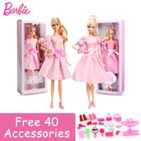 ingrosso set di giocattoli barbie-Barbie Collection Doll Pink Skirt Benedizione Girl Baby Bear Fashion Toy Barbie Boneca Set Mode X8428