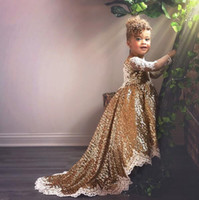 Wholesale orange purple wedding gowns resale online - Sparkly Gold Sequined Sheer Long Sleeves Flower Gilr Dress Appliqued Princess Birthday Patry Gown Girl Forma Pageant Dresses