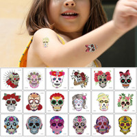 Wholesale diy art cool for sale - Group buy Small Skull Tattoo Sticker Flower Arm Hands Waterproof Temporary Body Art Decal for Kid Woman Man Cool Fake Funny Tattoo Halloween Party DIY