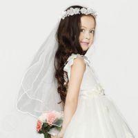 Wholesale mantilla wedding dresses veils resale online - Girls First Communion Mantilla Halloween Dress Up fairy Flower Tiara Wreath With cm Long Veil Party Wedding Supplies PC PT103