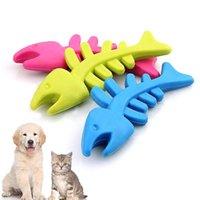 ossos interativos venda por atacado-Cão de estimação Brinquedo Interativo Forma de Osso de Peixe Brinquedo De Borracha Molar Molar Relaxar Brinquedo Do Animal de Estimação Ferramenta de Dentes de Moagem Suprimentos de Treinamento Em Casa