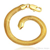 браслет из желтого золота для мужчин оптовых-Gold Bangle Bracelets Европейский браслет для мужчин и женщин Тонкие золотые браслеты Желтый 18-каратный золотой браслет