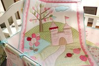 Wholesale bird crib bedding set for sale - Promotion Crib Bumper set Baby bedding set Cotton Crib Padding set for girl infant Embroidered bird trees wildflowers castle