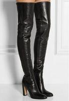 zapatos lisos negros de cuero mujer al por mayor-Negro de cuero liso de alta del muslo botas de la plaza del talón del dedo del pie redondo postal sobre la rodilla botas altas de calzado otoño botines de moda de la motocicleta de las mujeres