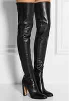 черные простые туфли кожаные женщины оптовых-Обычная кожа черного высокие сапоги квадратный каблук Круглый Toe Zip За Колено Высокие сапоги осень обуви моды Мотоцикл пинетки женщин
